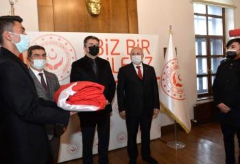 Şanlı Türk Bayrağı Erzurum'a ulaştı